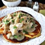 Chicken & Corn Cakes with Maple Chilie Gravy