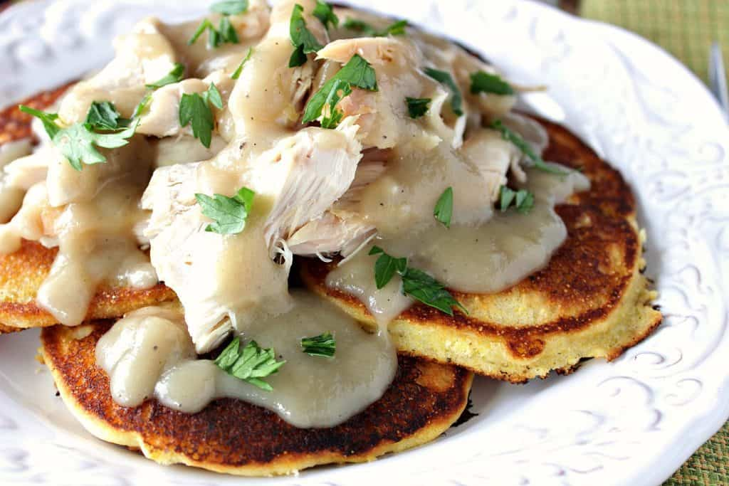 Chicken & Corn Cakes with Buttery Maple Chile Gravy