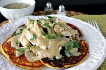 Chicken & Chile Corn Cakes with Buttery Maple Gravy