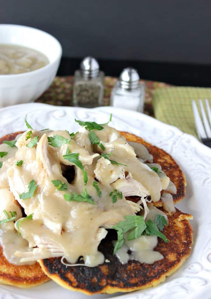 Chicken & Corn Cakes with Buttery Maple Chilie Gravy