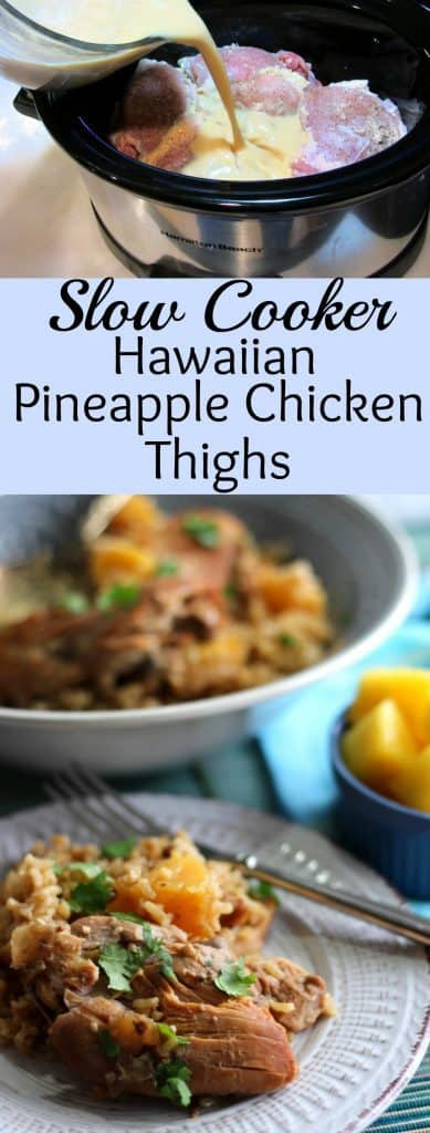 Slow Cooker Hawaiian Pineapple Chicken Thighs over Brown Rice