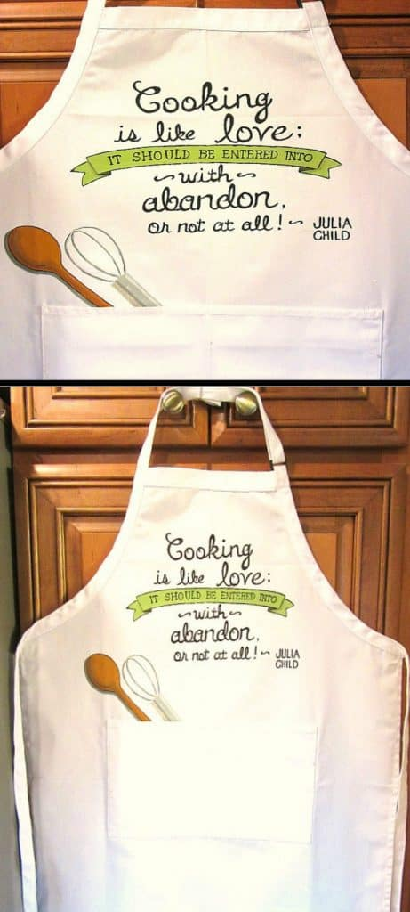 Hand Painted Julia Child Quote Hand Painted Apron