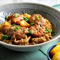 Succulent Slow Cooker Hawaiian Pineapple Chicken Thighs Over Brown Rice