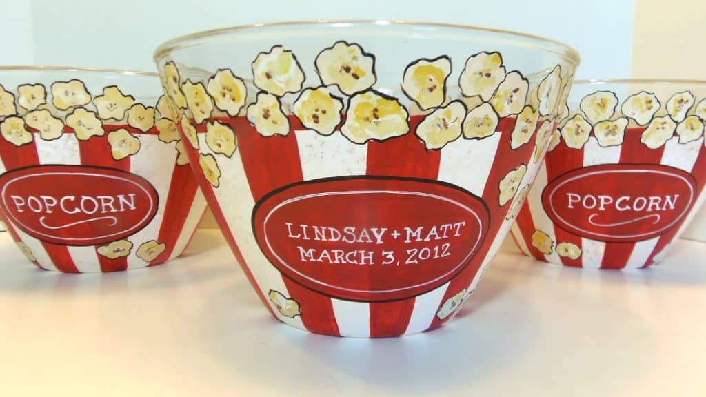 Custom Hand Painted Popcorn Bowl