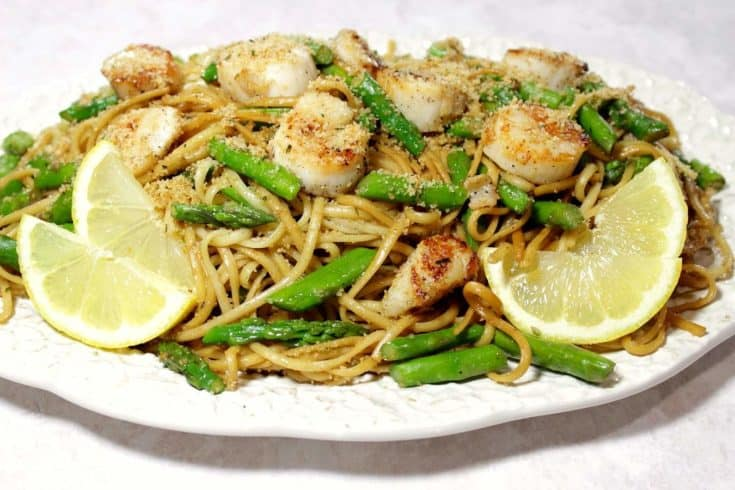 Sweet Caramelized Scallops with Linguine, Asparagus and Buttered Breadcrumbs