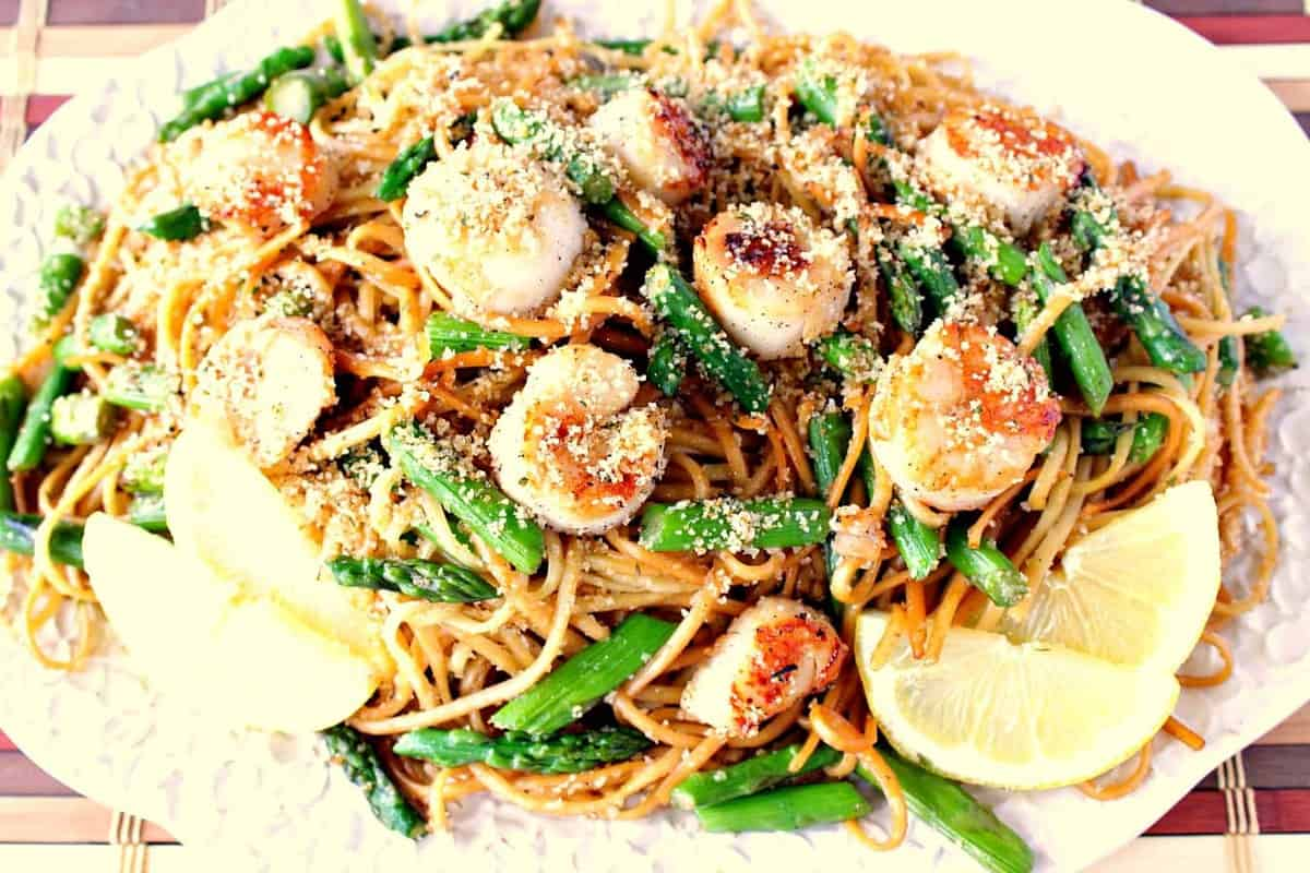 Sweet Caramelized Seared Scallops with Linguine, Asparagus & Buttered Breadcrumbs