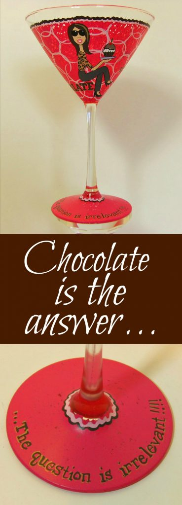 Chocolate Martini Lovers Hand Painted Glass