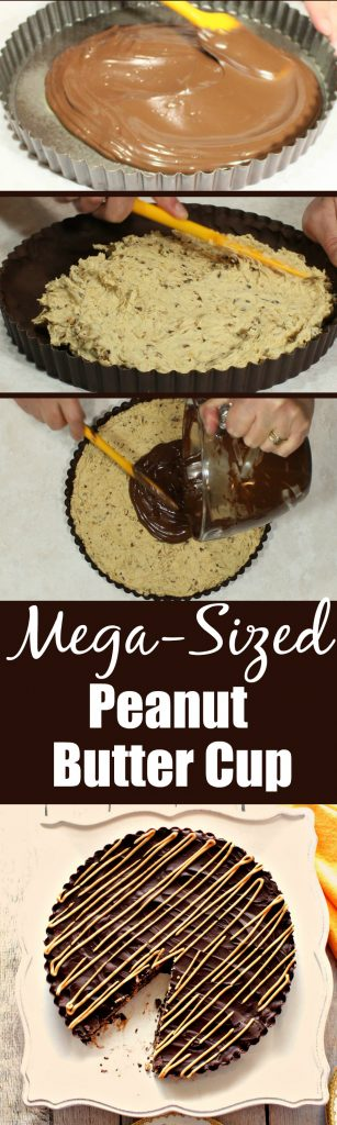 Vertical photo collage of making a giant peanut butter cup with text and title.