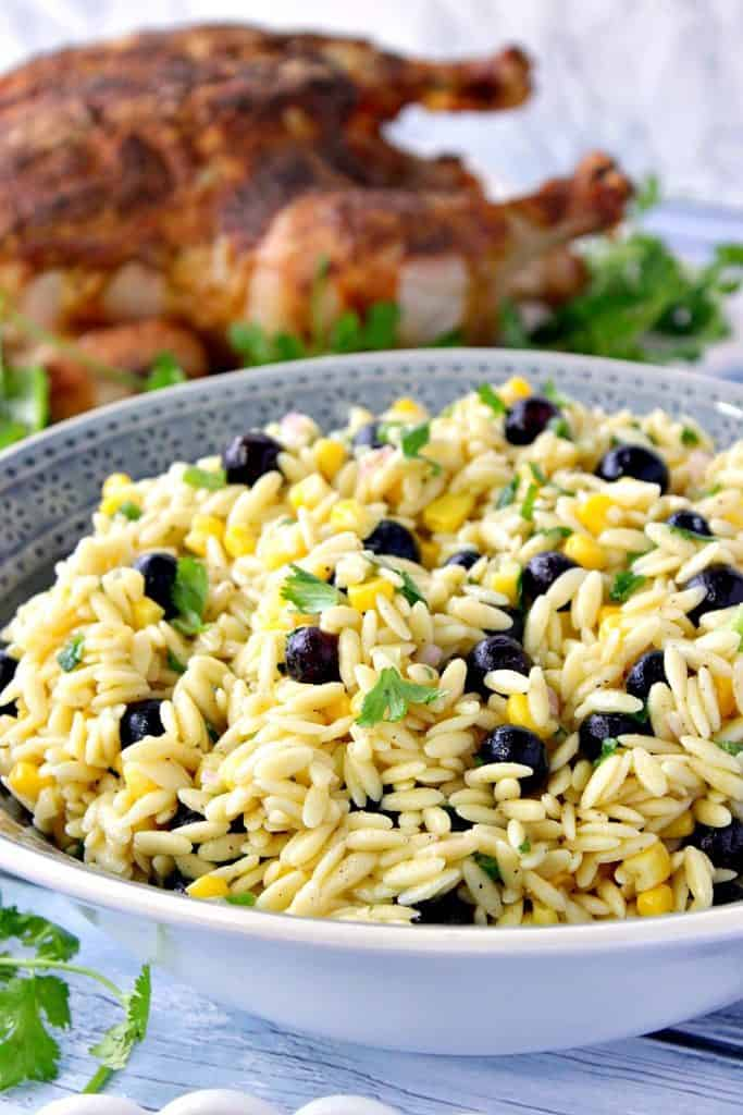 Surprise Orzo Pasta Salad with Sweet Corn & Blueberries