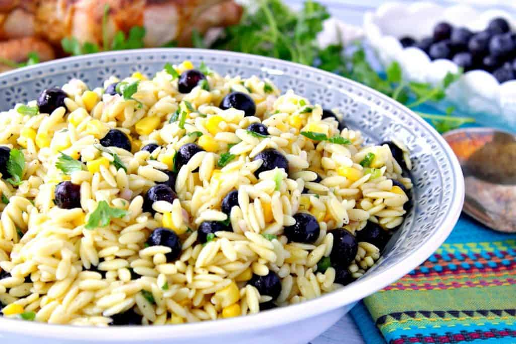 Surprise Chilled Orzo Pasta Salad with Sweet Corn and Blueberries