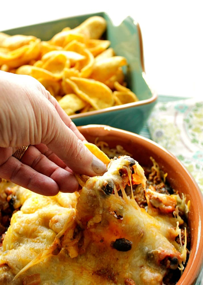 Easy Cheesy Mexican Bean Dip for Cinco de Mayo