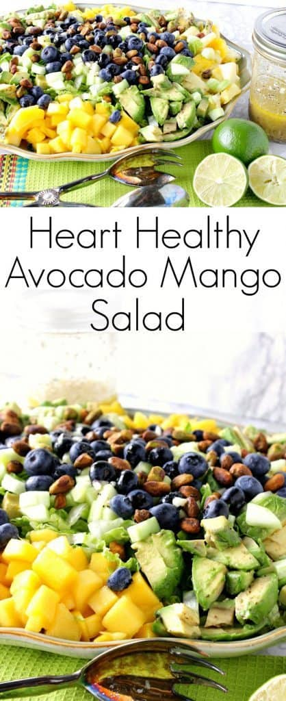 Heart Healthy Avocado Mango Salad With Lime Poppy Seed Vinaigrette is a brightly flavored and satisfying salad. It makes a delicious dinner all by itself, or for some added protein add some cooked chicken breast or turkey. Your call. Your salad. - kudoskitchenbyrenee.com