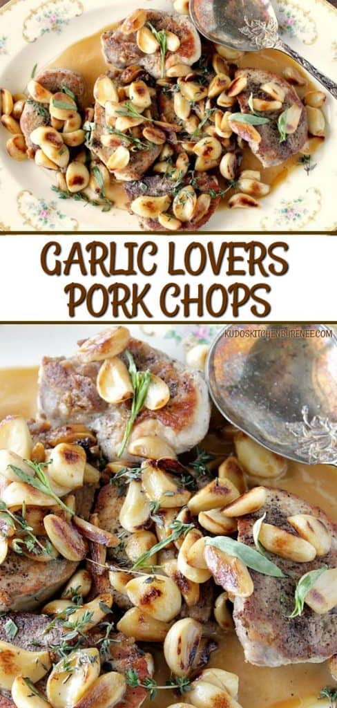 A vertical title text collage of garlic lovers pork chops with golden garlic cloves and fresh herbs on a platter.