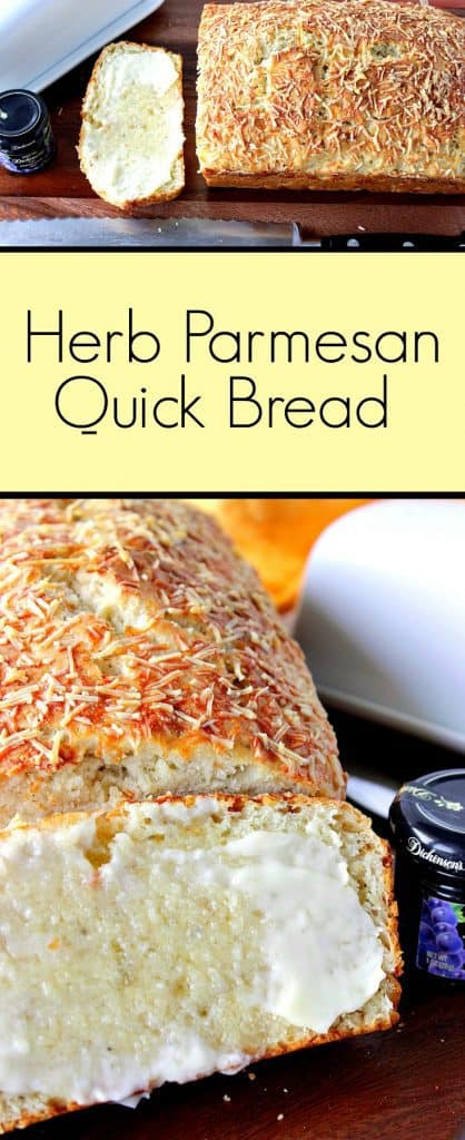 A vertical title text photo collage of Italian herb and cheese bread with melted butter.