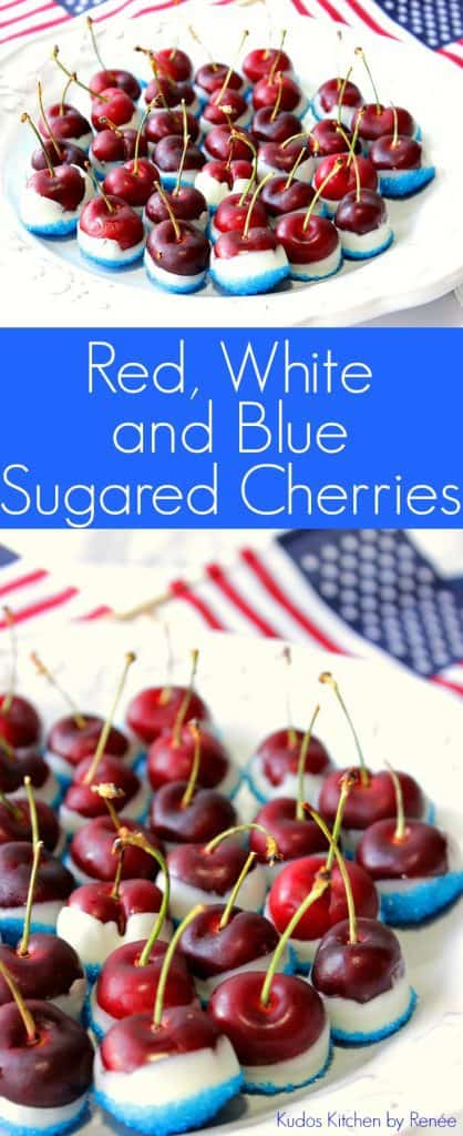 A vertical photo collage of patriotic sugared cherries with title text graphic overlay