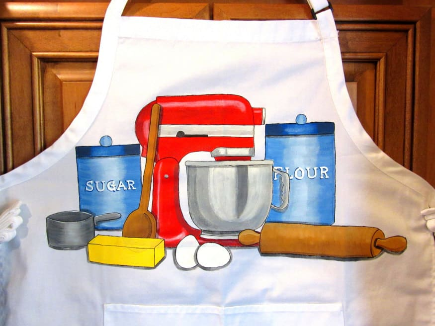 Hand Painted Baking Apron with a stand mixer, rolling pin, and ingredients