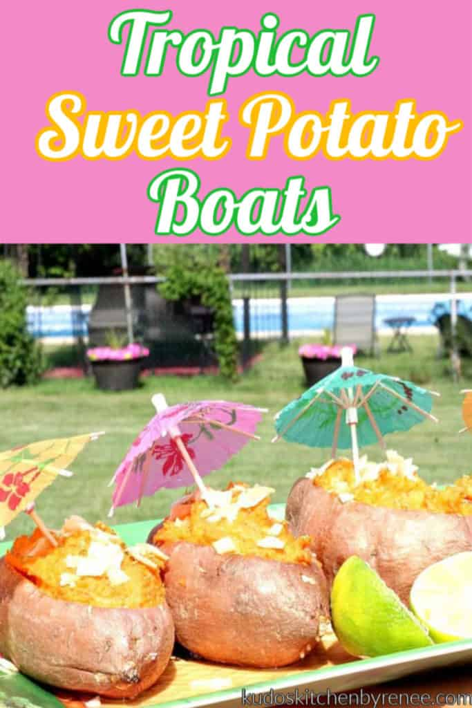Closeup vertical photo of tropical sweet potato boats with party umbrellas and lime slices.