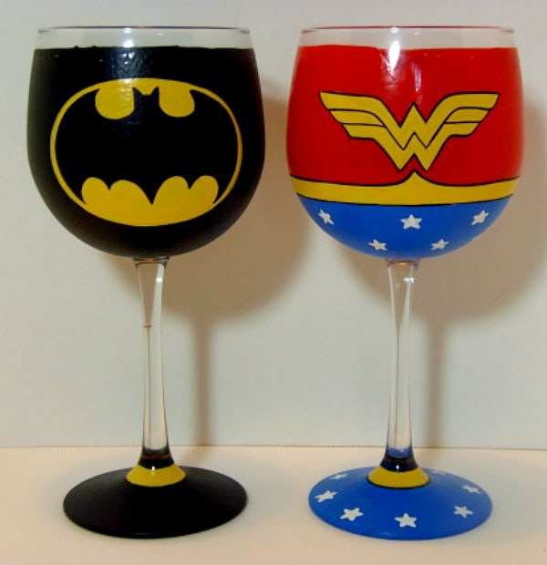 Hand Painted Batman & Wonder Woman Wine Glasses