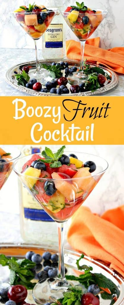 Boozy Fruit Cocktail with Gin & Mint