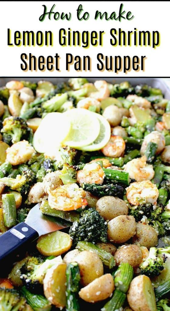 lemon ginger shrimp on a sheet pan with lemon slices and broccoli