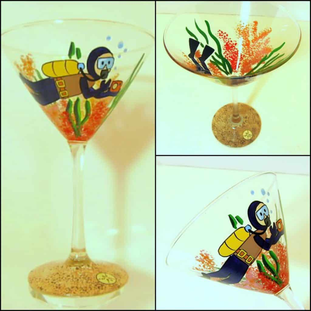 Hand Painted Scuba Diver Martini Glass