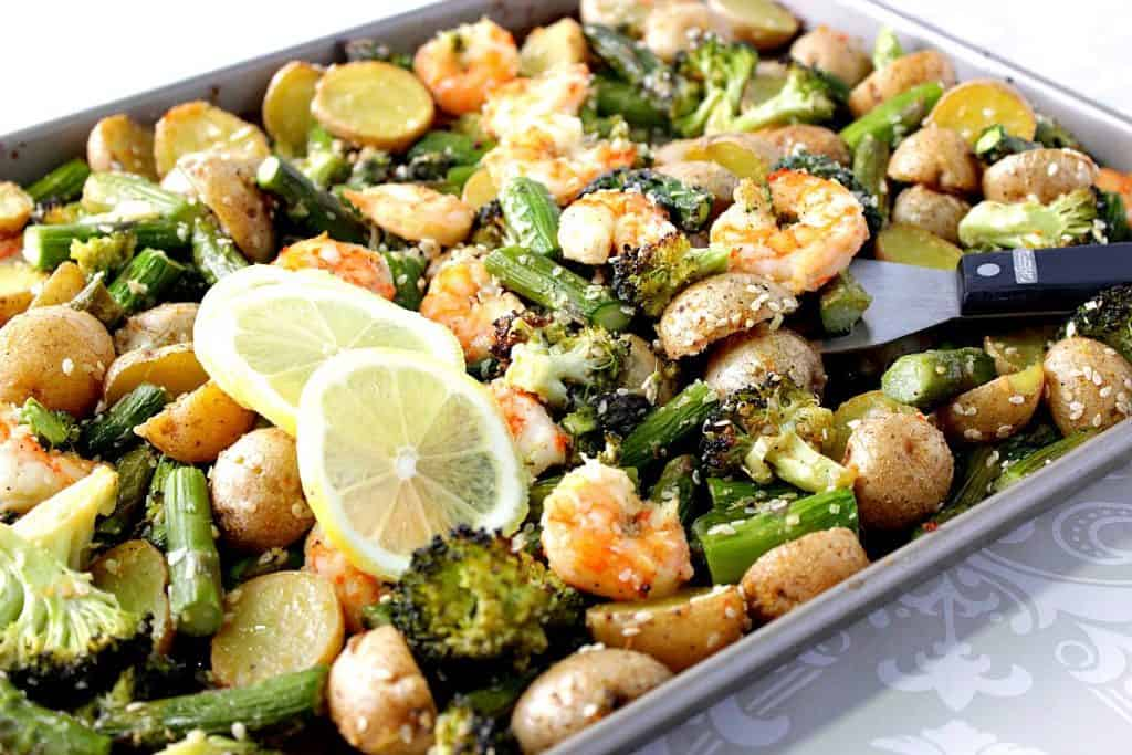 Sheet Pam Lemon Ginger Shrimp with Veggies & Potatoes