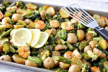 Lemon Ginger Shrimp Sheet Pan Supper
