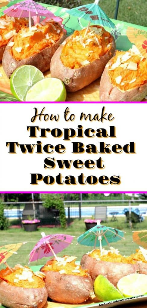 title text vertical collage of sweet potato boats in a tropical setting