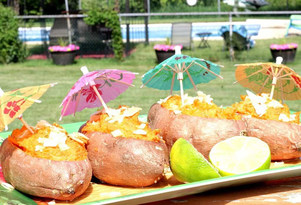 Twice Baked Sweet Potato Boats with a Tropical Touch of coconut and lime