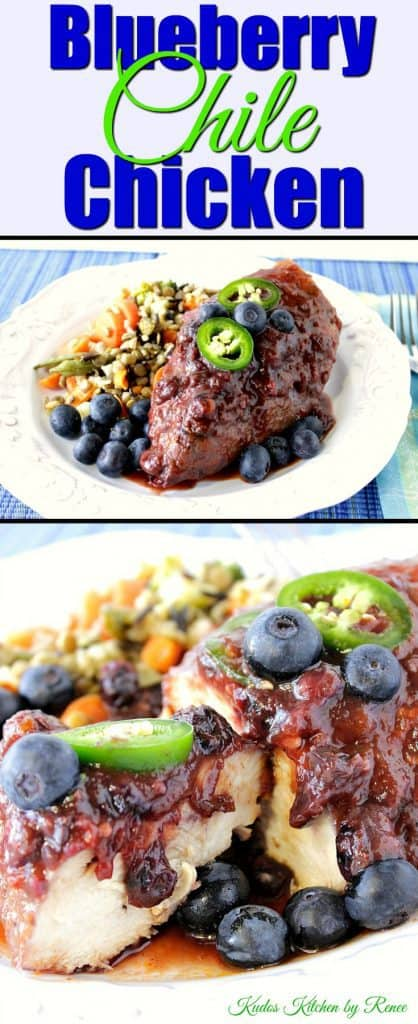 Vertical title text photo image collage of chicken breast with blueberries and jalapeno slices