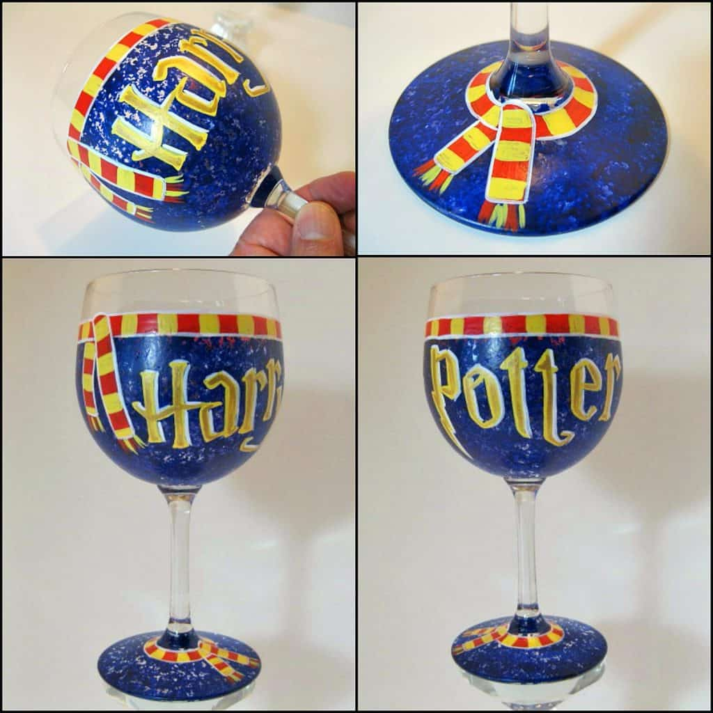 Hand Painted Harry Potter Wine Glass - Kudos Kitchen by Renee