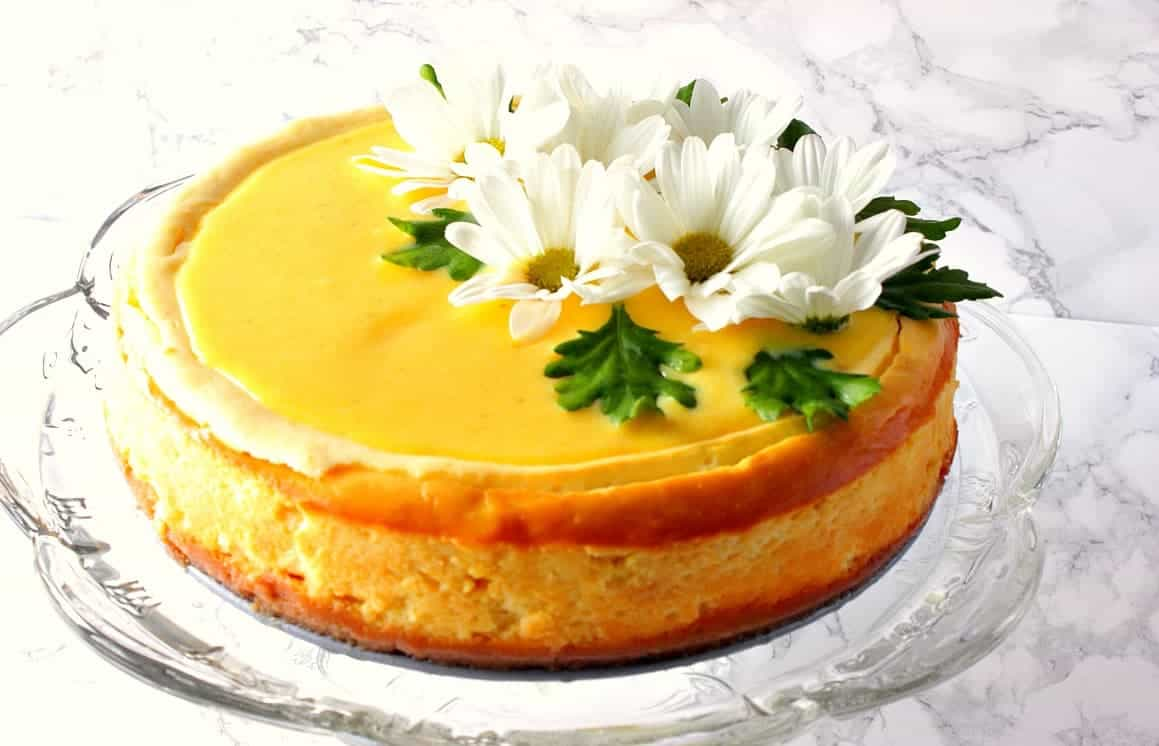 Lemon Cheesecake with Lemon Curd Topping and Daisies