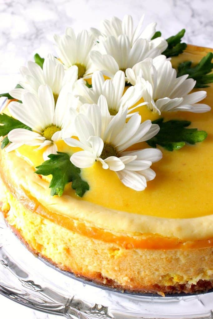 Closeup and side view of lemon cheesecake with fresh daisies on top.