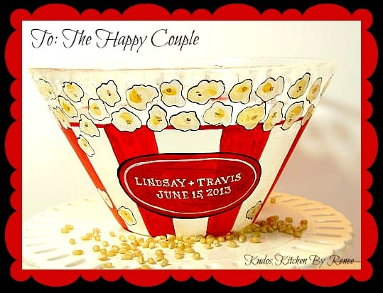 Hand Painted Popcorn Bowls for the bride and groom