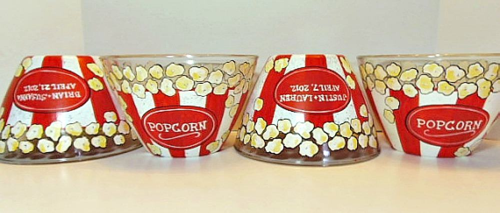Hand Painted Popcorn Bowls in a Row
