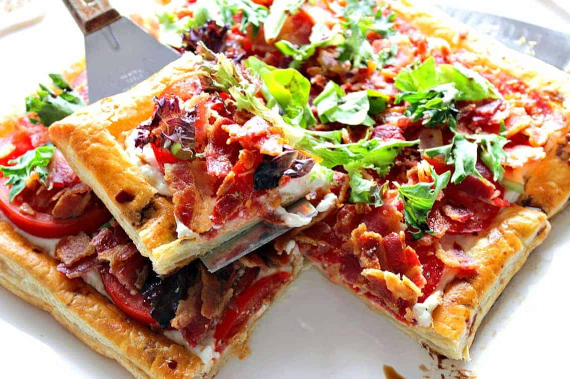 Square BLT Puff Pastry Tart with slice