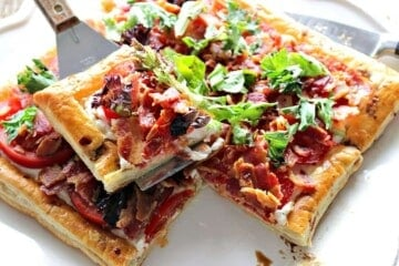 Delectable BLT Puff Pastry Tart with a Balsamic Drizzle