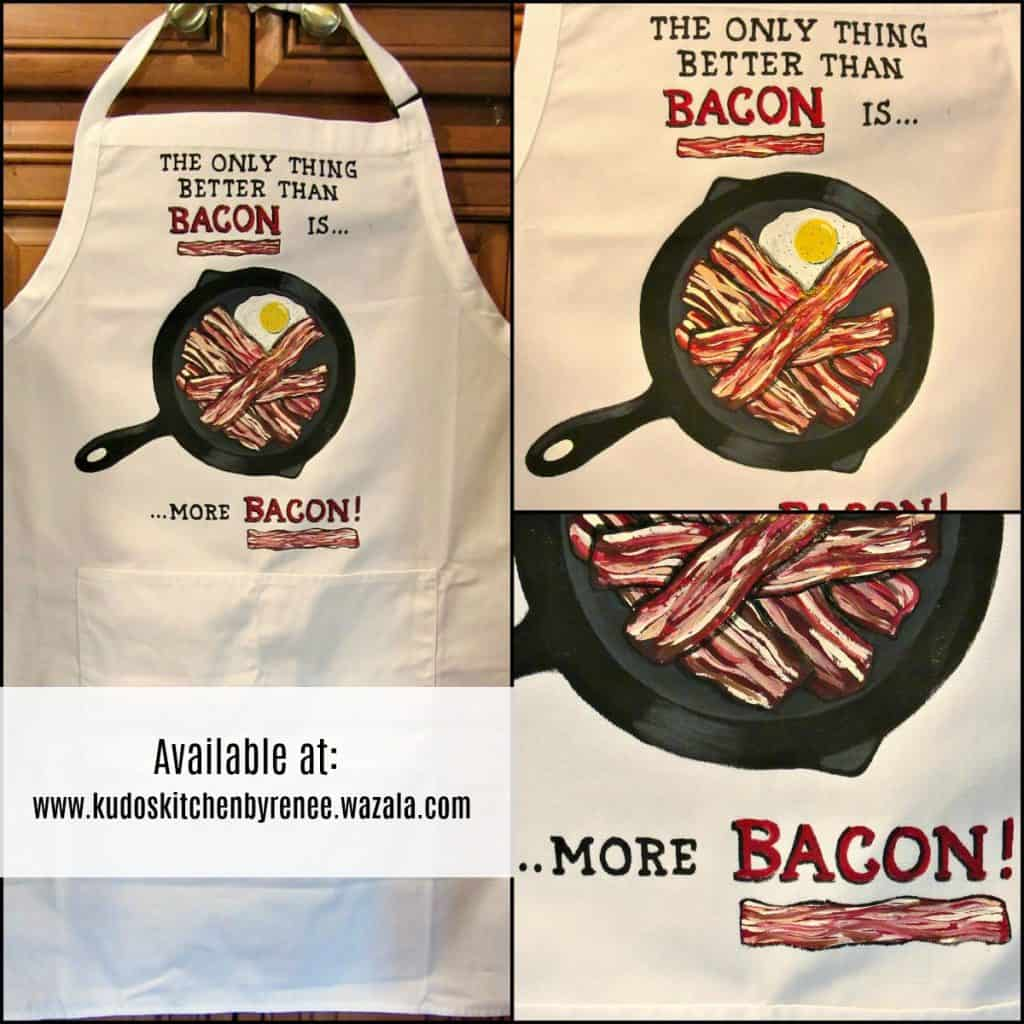 Bacon Lovers Hand Painted Apron Design.