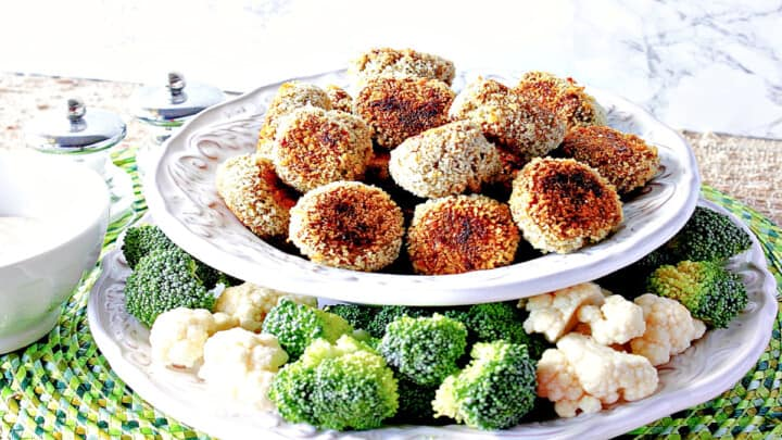 A bowl of Broccoli Cauliflower Vegetable Tots along with fresh broccoli and cauliflower on a plate.