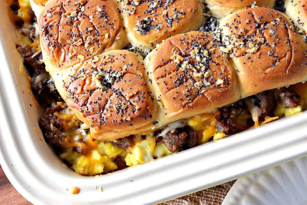 Close up of Breakfast Sliders with Scrambled Eggs and Sausage - kudoskitchenbyrenee.com