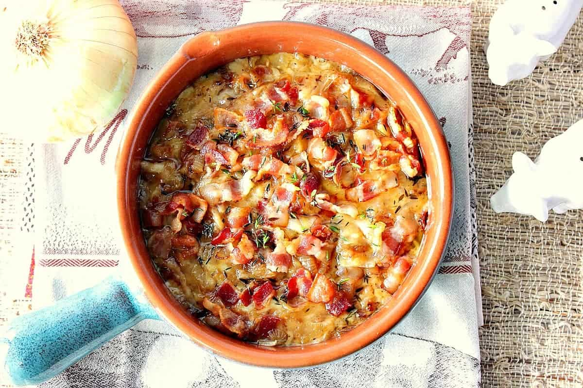Bowl of Bacon Caramelized Onion Cheese Dip