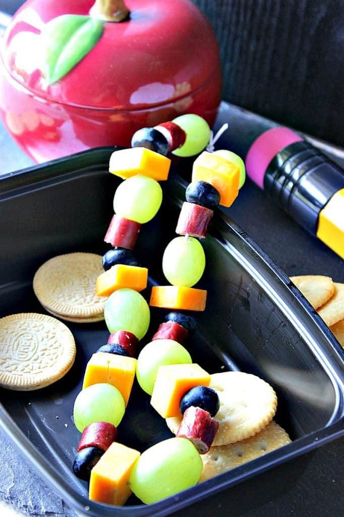 Back To School Healthy Edible Necklace with Grapes Cheese and Blueberries