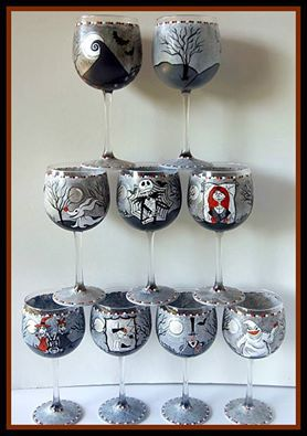 Nightmare Before Christmas Hand Painted Wine Glasses | Kudos Kitchen by Renee