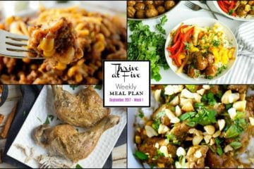 Thrive At Five Weekly Meal Planning September Week 2