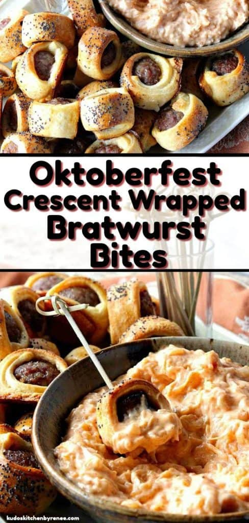 A photo collage of bratwurst appetizer bites with poppy seeds and sauerkraut dipping sauce and title text graphic overlay