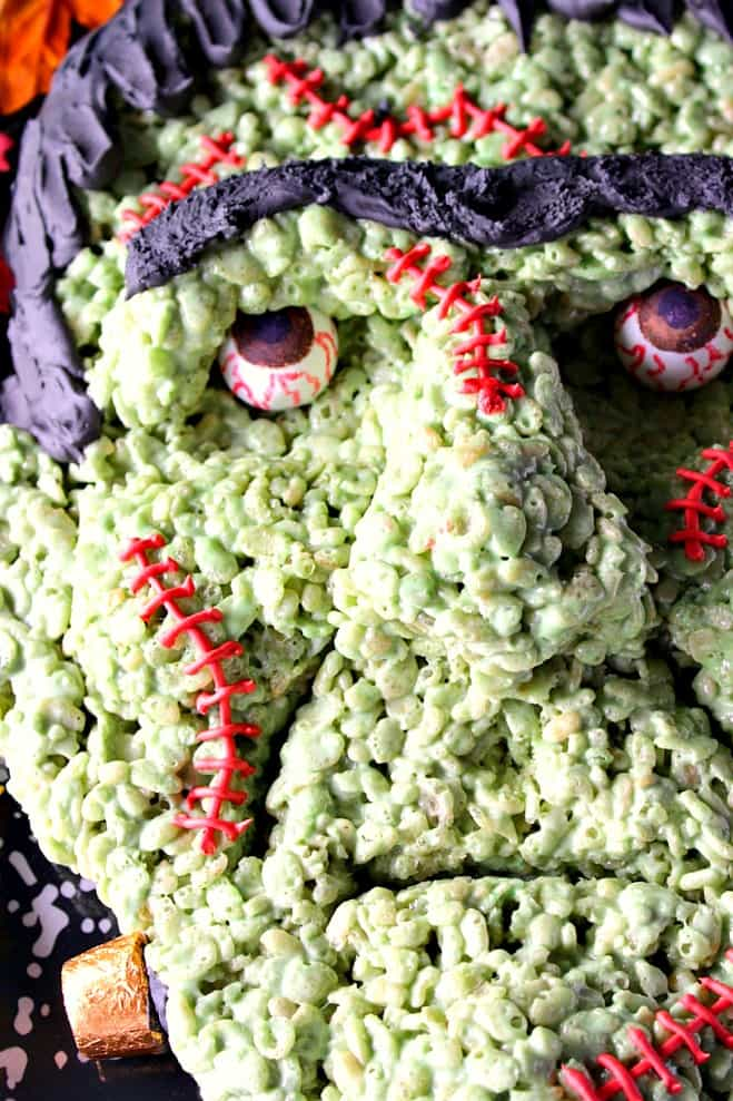 Frankenstein Rice Cereal Halloween Treat featuring AmeriColor soft gel paste and gourmet writers - Kudos Kitchen by Renee