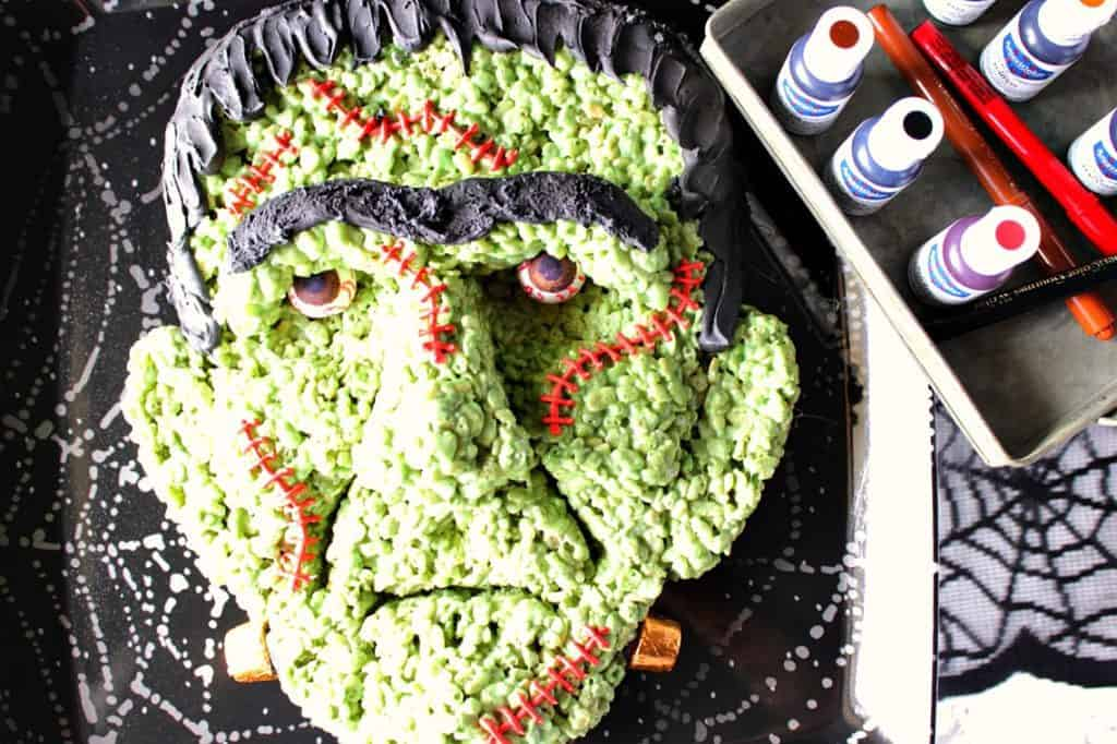 Frankenstein Rice Cereal Halloween Treat featuring AmeriColor food color. - Kudos Kitchen by Renee