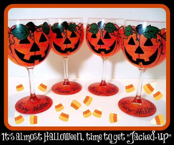Hand Painted Jack-O-Lantern Wine Glasses for Halloween