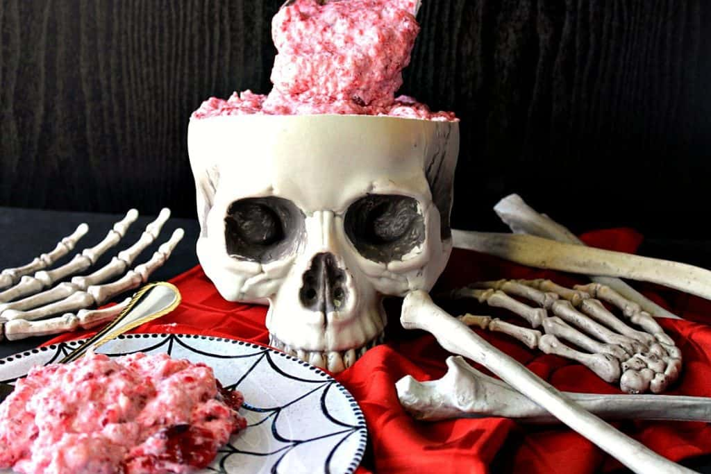 Gory Brain Food Jello Fruit Salad Served in a skull | Kudos Kitchen by Renee