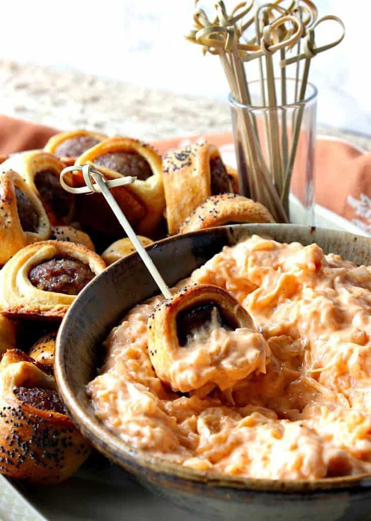 Bratwurst Bites with skewers and Sauerkraut Dipping Sauce - kudoskitchenbyrenee.com